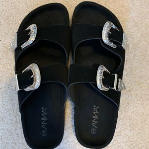 Black Anna Brand Sandals with Western Buckles